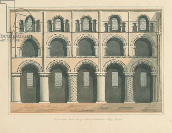 Essex - Waltham Abbey - Section of the North Side of the Nave, 1802 (w/c on paper)