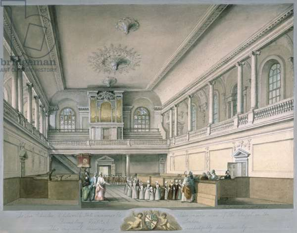 The Foundling Hospital Chapel looking West, 1773 (w/c on paper)