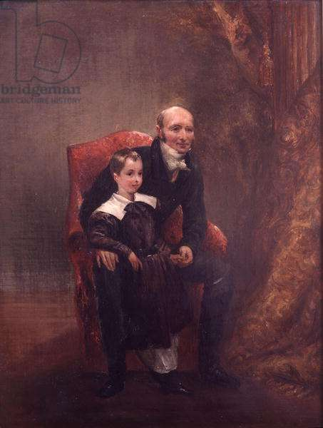 Robert (1767-1845) Marquess of Westminster and his Grandson, Hugh Lupus Grosvenor (1825-99) 1st Duke of Westminster (oil on canvas)