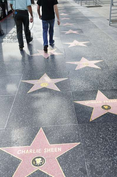 Charlie Sheen and Morgan Freeman amongst other stars along Hollywood Boulevard Walk of Fame, Hollywood in Los Angeles (photo)