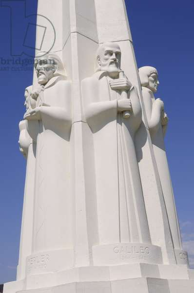 Detail of the Philosopher's and scientists that adorn the obelisk in Griffith Park Observatory Los Angeles (photo)