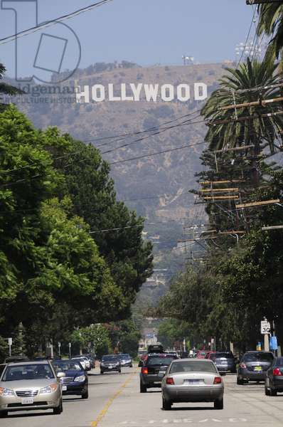 Hollywood sign from Beechwood Drive, in Hollywood Los Angeles
