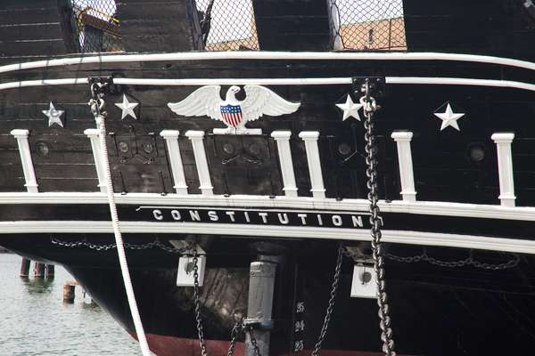 Rear of the USS Constitution at the  USS Constitution Museum, Boston, USA