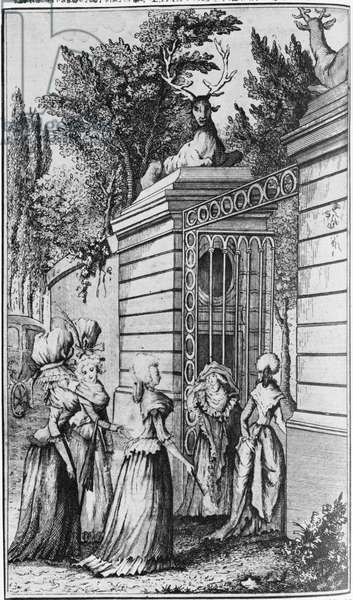 Le Parc aux Cerfs, the Gateway to the 'Royal Haven' of Louis XV (1710-74), managed by Madame de Pompadour (1721-64) (engraving)
