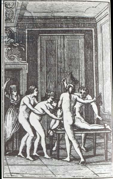 Sadistic Orgy, illustration for the first edition of 'Histoire de Juliette' by the Marquis de Sade (1740-1814), c.1797 (engraving)