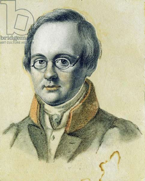 Portrait of Anton A. Delvig, 1830 (lithograph and w/c on paper)