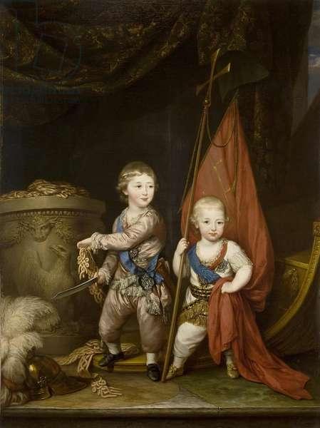 Portrait of Grand Dukes Alexander Pavlovich and Constantine Pavlovich, as children, 1781 (oil on canvas)