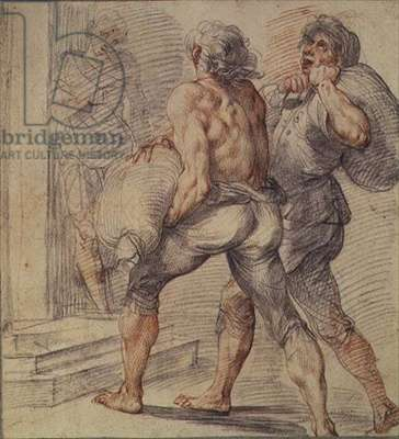 Study of Tax Collectors, c.1591-93 (grey & red chalk on paper)