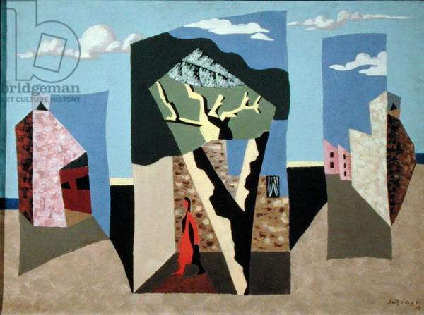 Landscape with a red figure, 1927 (oil on canvas)