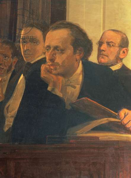 Michal Kleopas Oginski (1765-1833), Frederic Chopin (1810-49) and Stanislaw Moniuszko (1819-72), from Slavonic Composers, 1890s (oil on canvas) (detail)