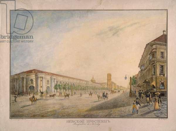 View of Nevsky Prospekt, near the Gostiny Dvor, St. Petersburg, 1823 (w/c on paper)