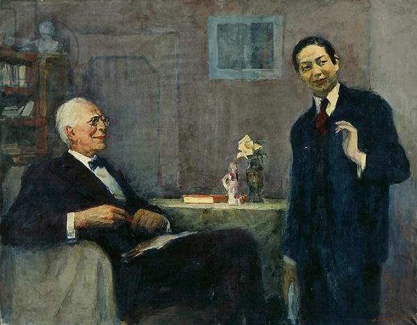 Portrait of the Producer Konstantin Stanislavsky (1863-1938) and the Chinese Actor Mei Lanfang (1894-1961), 1963-64 (oil on canvas)