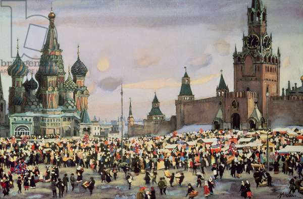 Selling Willow Twigs for Palm Sunday in Red Square, 1916 (gouache on paper)