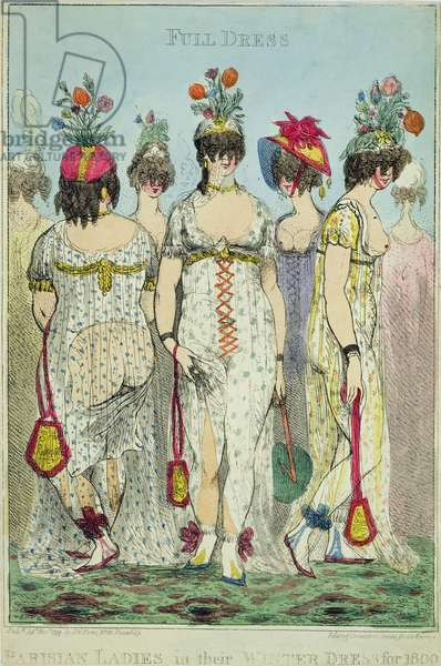 Parisian Ladies in Winter Dresses for 1800, 1799 (copper engraving & w/c)