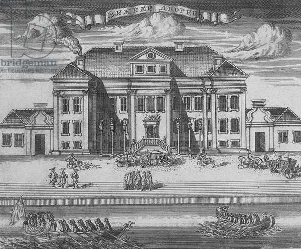 St. Petersburg. View of the Winter Palace of Peter I, 1716 (etching)
