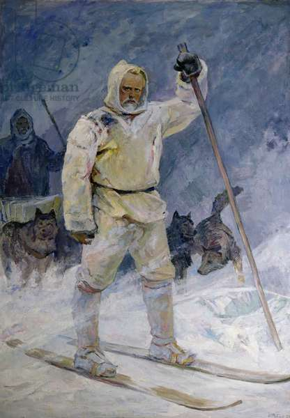 Fridtjof Nansen reaching the North Pole in 1895, 1971 (oil on canvas)