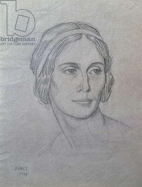 Portrait of Anna Pavlova (1881-1931), 1908 (charcoal on paper)