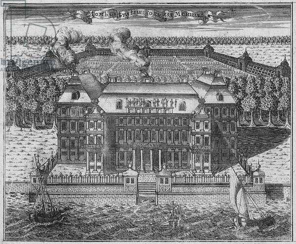View of Menshikov's Palace on Vasilievsky Island, 1717 (etching)