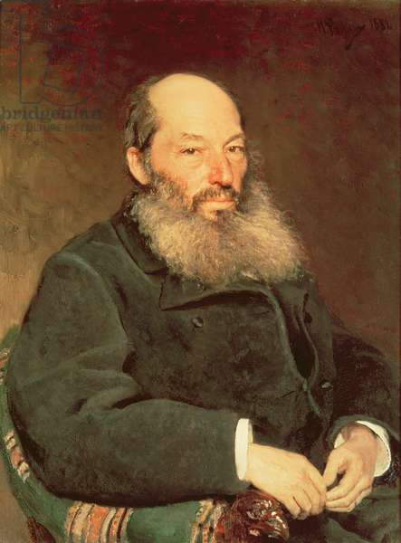 Portrait of Afanasy Fet (1820-92), 1882 (oil on canvas)