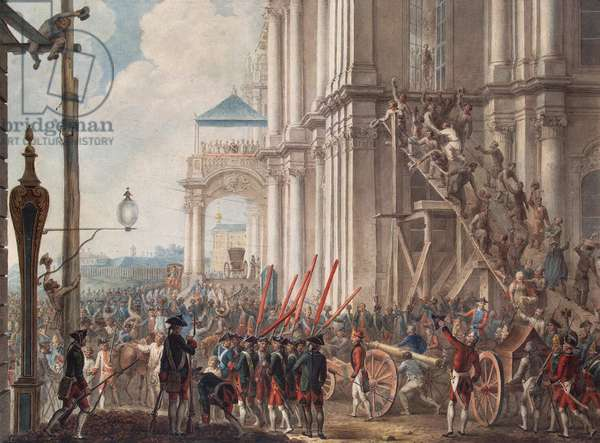 Catherine II on the Balcony of the Winter Palace, greeted by Guards and People on the Day of the Palace Revolution, 28th June, 1762 (colour litho)