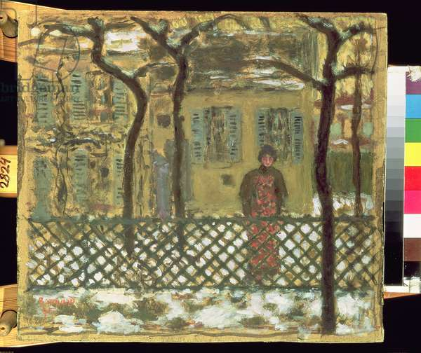 At the Fence, 1895 (gouache on paper)