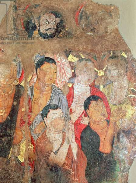 Group of monks and Buddha, from the Shikshin Monastery, Karashar, 9th-10th century (fragment of a painting)