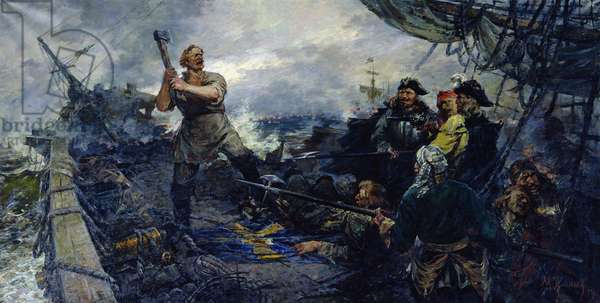 The Defence of the Novodvinskaya Fortress from the Swedish Offensive in 1701, 1954 (oil on canvas)
