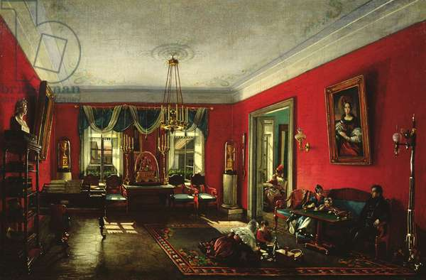 The Nashchokin family in drawing room (oil on canvas)