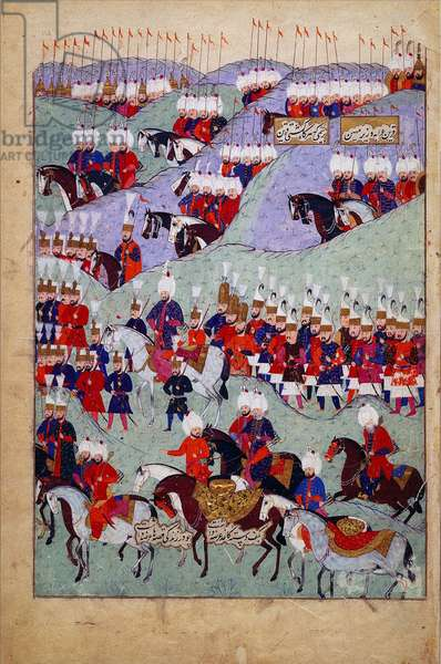 Funeral of Sultan Suleyman the Magnificent, History of Sultan Suleyman, Istanbul, Turkey, 1579 (ink & colour on paper)