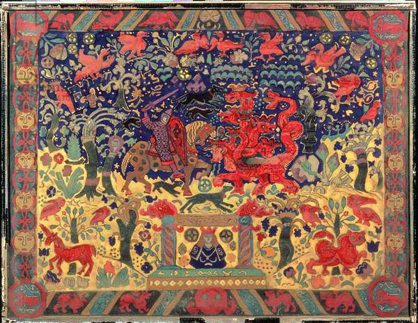 Battle with the Dragon, 1912 (gouache on paper)