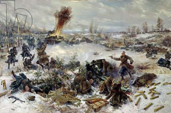 Artillery in the Battle of Moscow near Volokolamsk, December 1941, 1946 (oil on canvas)