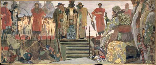 A Boyar's Execution during the Dreadful Reign of Tsar Ivan IV (1530-84) (gouache on paper)