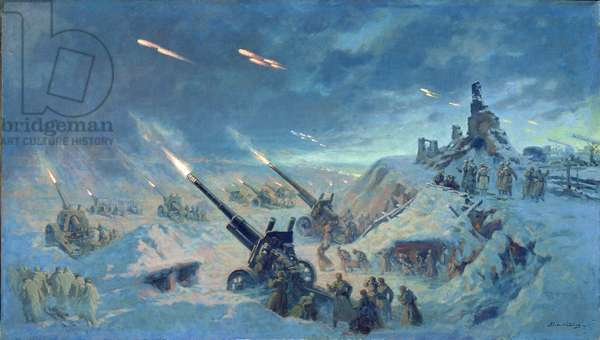 The Artillery Fighting at Stalingrad, 1946 (oil on canvas)
