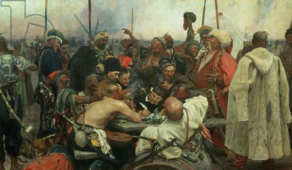 The Zaporozhye Cossacks writing a letter to the Turkish Sultan, 1890-91 (oil on canvas)