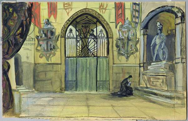 Stage design for Alexander Pushkin's play 'The Stone Guest', 1915 (w/c & gouache on paper)