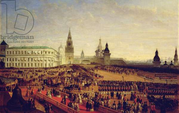 Military parade during the Coronation of Alexander II in the Moscow Kremlin on the 18th February 1855, 1856 (oil on canvas)