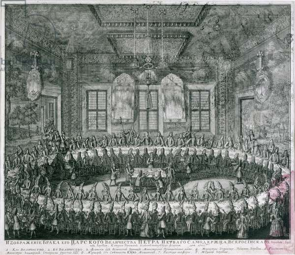 Wedding of Peter I (1672-1725) and Catherine (1684-1727) in the Winter Palace in 1712, 1712 (engraving)