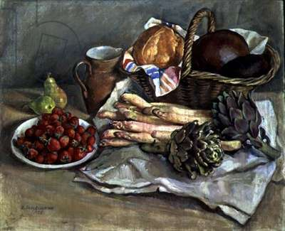 Still Life with Asparagus, Artichoke and Strawberries, 1932 (oil on canvas)