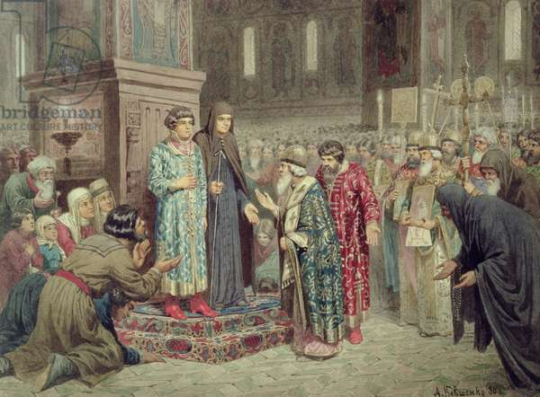 Council calling Michael F. Romanov (1596-1645) to the Reign, 1880 (w/c on paper)