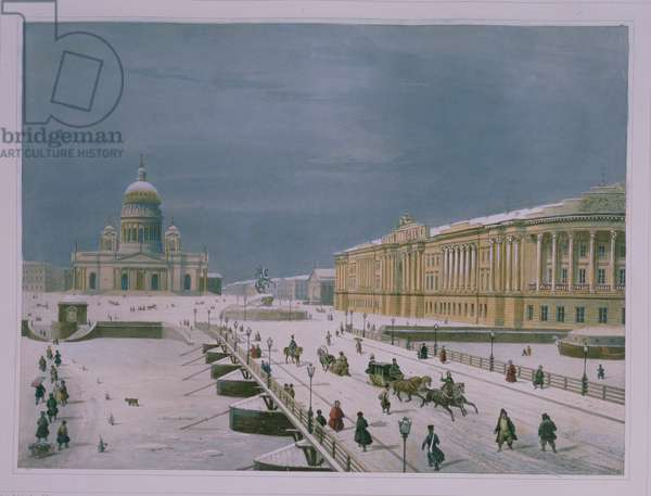 The Isaac Cathedral and the Senate Square in St Petersburg, 1840s (colour litho)