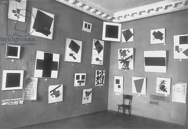 View of the room with Malevich's Black Square and other Suprematist paintings, The Last Futurist Exhibition of Paintings 0.10, Petrograd, winter 1915-16 (b/w photo)