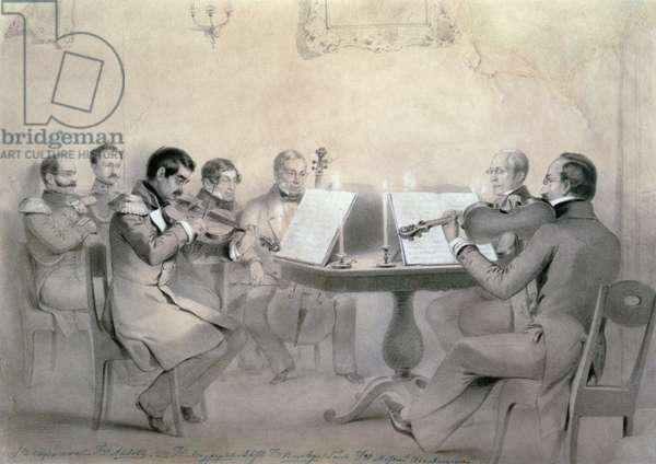 Quartet of the Composer Count A. F. Lvov, 1840 (pencil on paper)