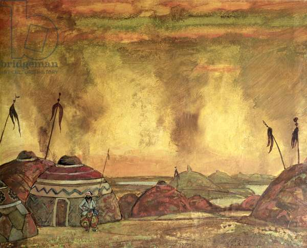 Stage design for Alexander Borodin's (1833-87) opera 'Prince Igor', 1909 (tempera on paper)