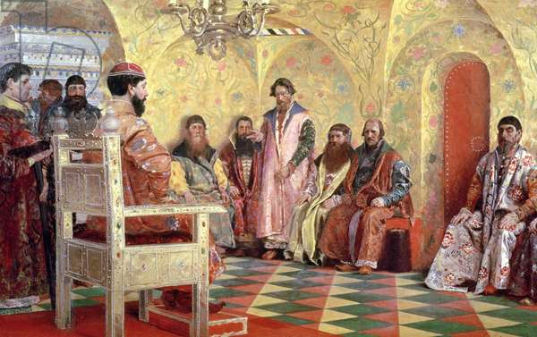 Tsar Mikhail Fyodorovich (1596-1645) with Boyars Sitting in His Room, 1893 (oil on canvas)