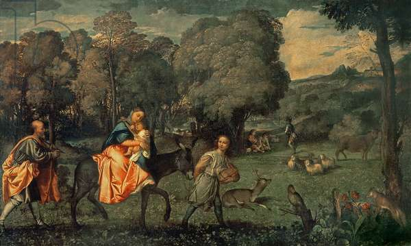 The Flight into Egypt, 1500s (oil on canvas)