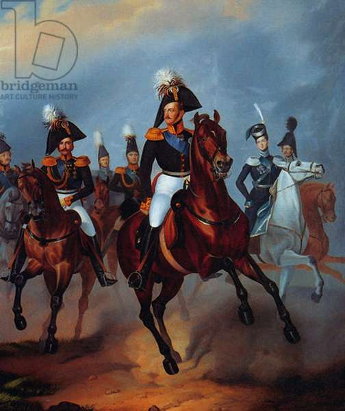 Nicholas I with his officers, 1835 (oil on canvas)