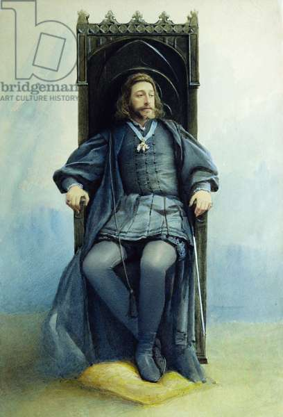 Grand Duke Konstantin Konstantinovich as Hamlet in the theatre play by William Shakespeare on February 21st, 1899, 1899 (w/c on paper)