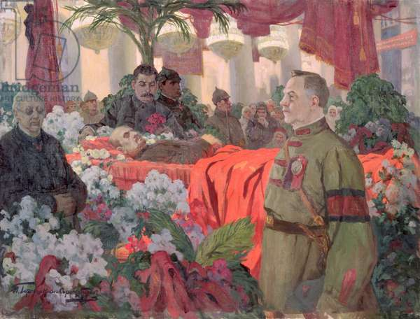 Lenin's (1870-1924) funeral ceremony, 1924 (oil on canvas)