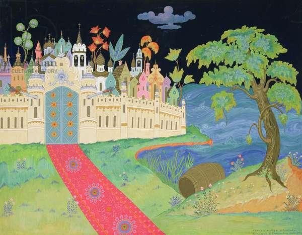 Stage design for the play 'The Tale of Tsar Saltan' by N. Rimsky-Korsakov, 1958 (tempera on cardboard)