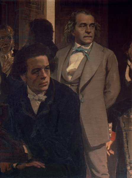 Anton Grigoryevich Rubinstein (1829-94) and Alexander Nikolayevich Serov (1820-71), from Slavonic Composers, 1890s (oil on canvas) (detail)